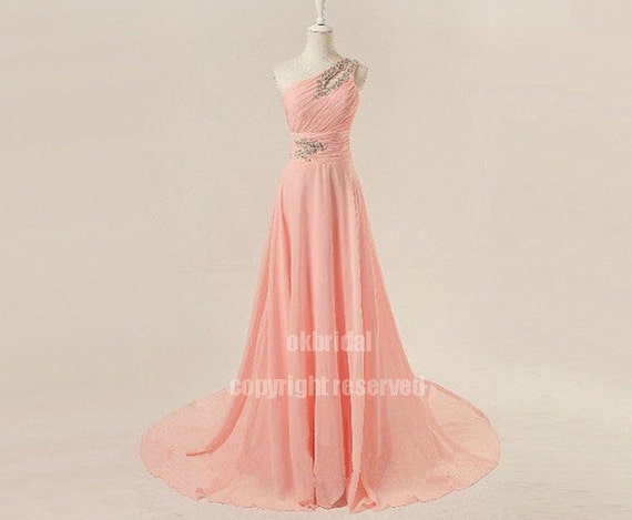 Peach prom dress, blush pink prom dress, blush dress, long prom dress, formal prom dress, chiffon prom dress, evening dress, RE199