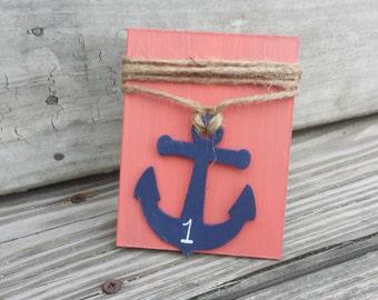 Anchor wedding table numbers, beach wedding