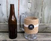 Mens Personalized Gift / Pint Glasses / Rustic Wedding Beer Mug /  Country Beer Stein / Monogram Groomsmen / Groom Gift / Man Cave Decor
