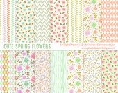 "Cute Spring Flower Digital Paper ""FLORAL DIGITAL PAPER""  for scrapbooking, card, invites, etc. Romantic, pastel, florals, foliage."
