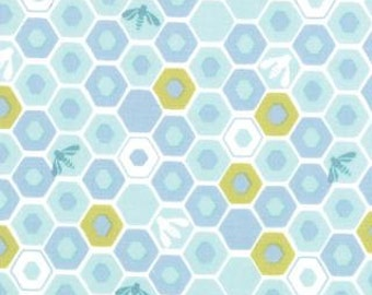 Bees and Honeycomb in Tide by Kate Spain from the Honey Honey collection for Moda
