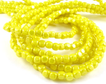 Luster Opaque Yellow 4mm Cube Czech Glass Beads 100pc #1746