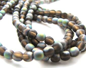 Matte Smoky Topaz Vitrail 4mm  Round Czech Glass  Beads 100pc #2098