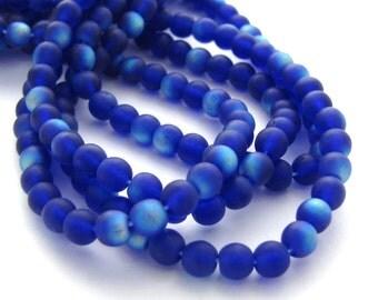 Matte Cobalt Blue AB 4mm Smooth Round Czech Glass Beads 100pc #697