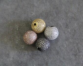 CZ Micro Pave 14mm Round beads