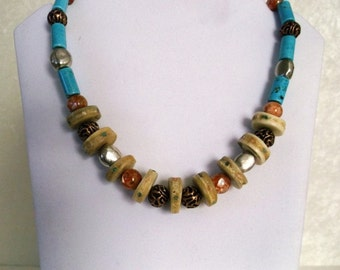 Turquoise Color Dyed Howlite Inlaid Bone Mother of Pearl Silver Copper Necklace
