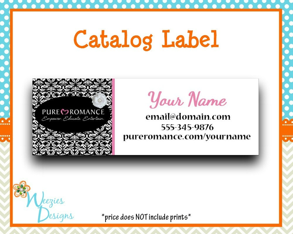 Pure romance catalog label direct sales marketing for Pure romance business cards