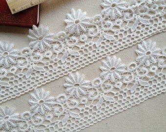 Vintage White Crocheted Cotton Lace Trim 3.34 Inches Wide 2 Yards/ Craft Supplies