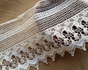 "Off White Crocheted Hollowed Lace Retro Cotton Lace Trim 6.3"" wide 2 Yards"