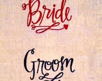 Bride and Groom Machine Embroidery Design.  Stylish, modern writing of Bride and Groom perfect for Newlyweds or Newly Engaged Couple