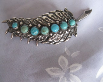 1940's Mexican Silver Repousee Brooch with Turquoise Cabochon Stones