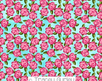 Preppy Pink Roses on turquoise background, pink roses flower paper, art paper, pink rose flower pattern