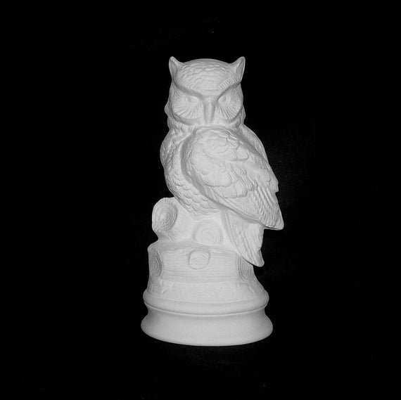 Bisque owl statue perched on a log large base very for Ceramic based paint