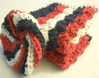 Made To Order - A Set Of 2 Cotton Textured Dishcloths and a Dish Scrubber in the Colors of Your Choice