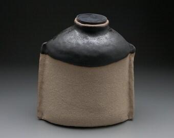 Pet Funerary Urn Satin Black - Sculptural Vessel