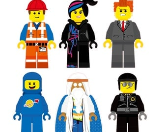 The Lego Movie Characters Removable Wall Stickers 6 piece Set including  Emmet, Wyldstyle, Vitruvius, Lord Business, Bad Cop, and Benny
