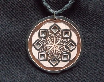 Sacred geometry hand-carved leather pendant - tooled leather jewelry