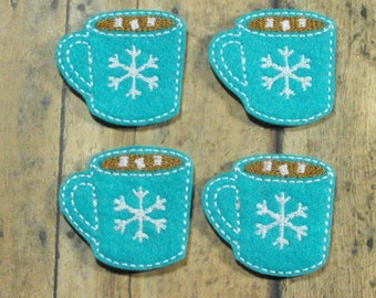 Hot Chocolate Cocoa felties, Christmas feltie, machine embroidered, felt applique, hairbow center, felt embellishment