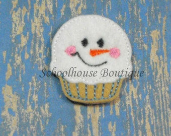 Snowman Cupcake felties, feltie, machine embroidered, felt applique, felt embellishment, hair bow center, felt planner clip, felt badge reel
