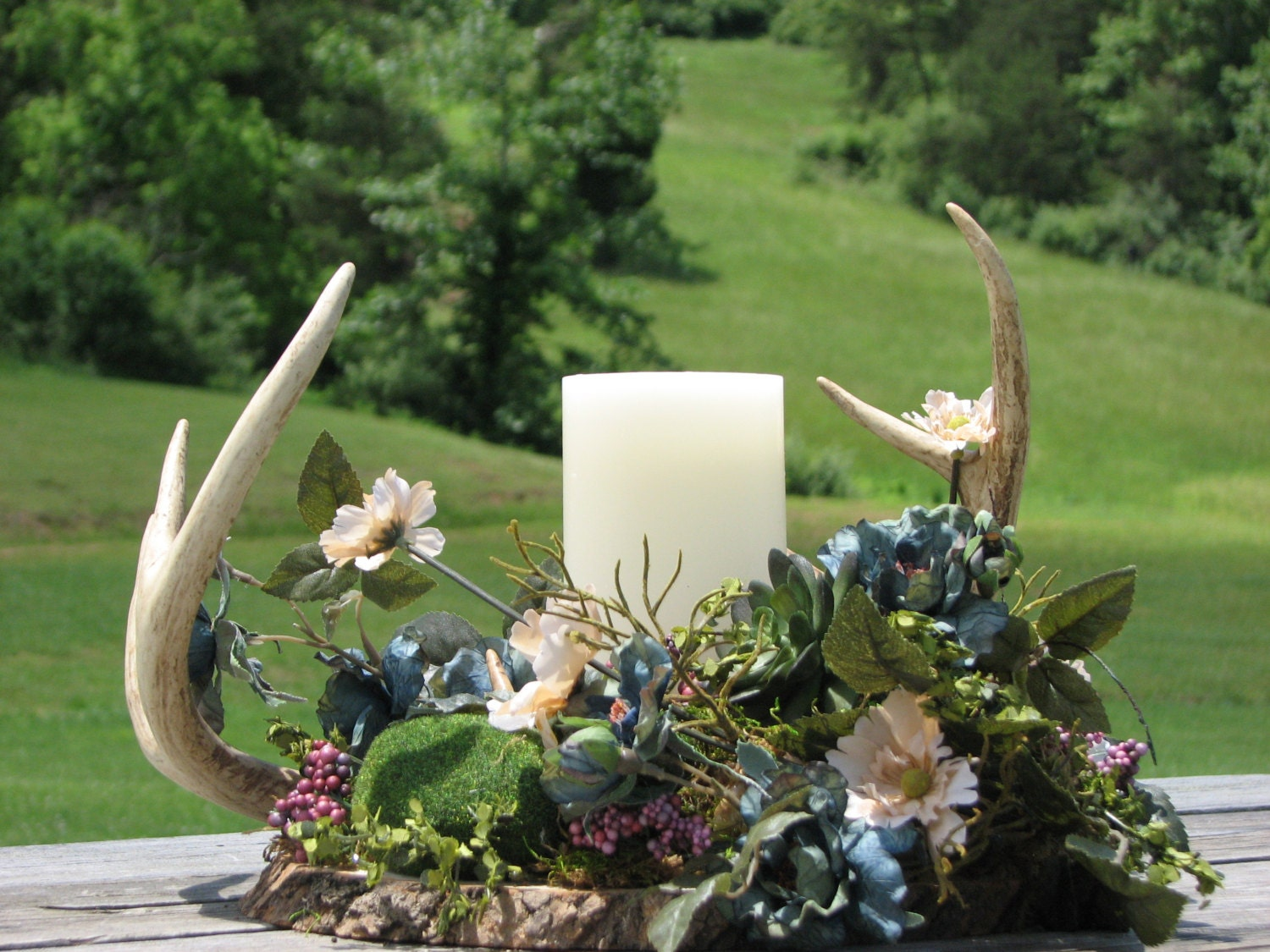 Deer antler centerpiece made to order rustic by thevinedesigns