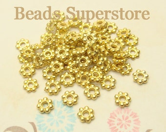 4.5 mm Gold-Plated Daisy Spacer - Nickel Free, Lead Free and Cadmium Free - 100 pcs