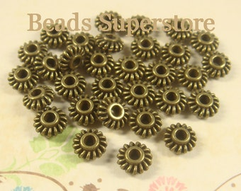 SALE 7 mm x 3 mm Antique Bronze Spacer Bead - Nickel Free, Lead Free and Cadmium Free - 25 pcs