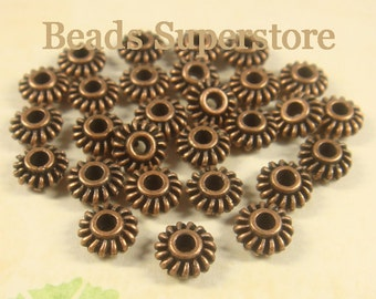 SALE 7 mm x 3 mm Antique Copper Spacer Bead - Nickel Free, Lead Free and Cadmium Free - 25 pcs