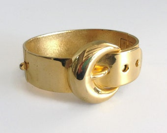 Vintage Eighties Gold Buckle Clamper Bracelet