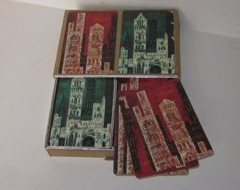 Vintage European Design Double Deck of Playing Cards-Flocked Slide Boxed Set-Red & Green Castles
