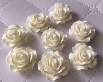 10 pcs 19 mm Off White Cabochon Flower,19 mm White Rose rose,White resin flower, Off White cabochon,White flower,flower kit,Off White flower