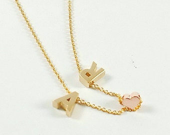 Two Gold Letter Necklace,Love Necklace.,Gold Lertter Jewelry.Rose gold Necklace.Couples Necklace ,Anniversary Gifts,Custom Initial Necklace