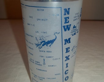 Souvenir Glass New Mexico Land of Enchantment Frosted Hazel Atlas Drinking Glass