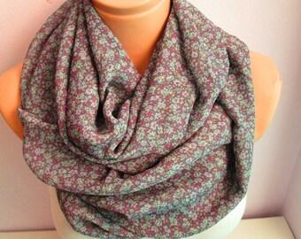 Purple  Scarf Flowery Scarf Infinity Scarf Shawl Circle Scarf  Loop scarf