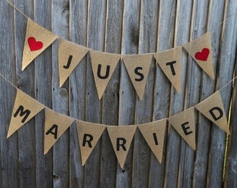 Just Married Banner Just Married Bunting Just Married Garland Just Married Sign Wedding Banner Wedding Decor Burlap Banner Burlap Wedding