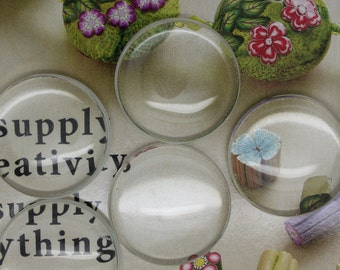 4 Glass Cabochons, Clear Glass Cabochon, 30 mm . Ships from Los Angeles