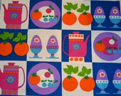 Scandinavian amazing decorative fabric with apples, coffee pot, egg cup, flowers, vintage 70's