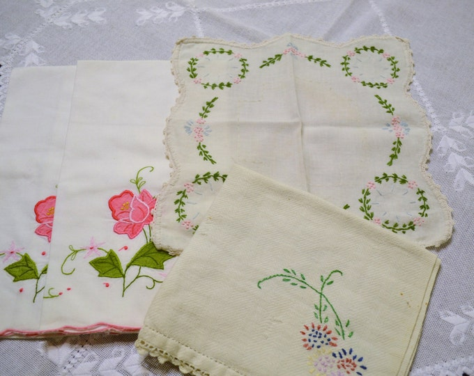 Vintage Linens Hankies Doily Scarf White Pink Embroidered Shabby Romantic Decor Panchosporch