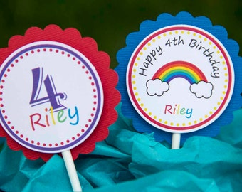 Rainbow Birthday Party Cupcake Toppers