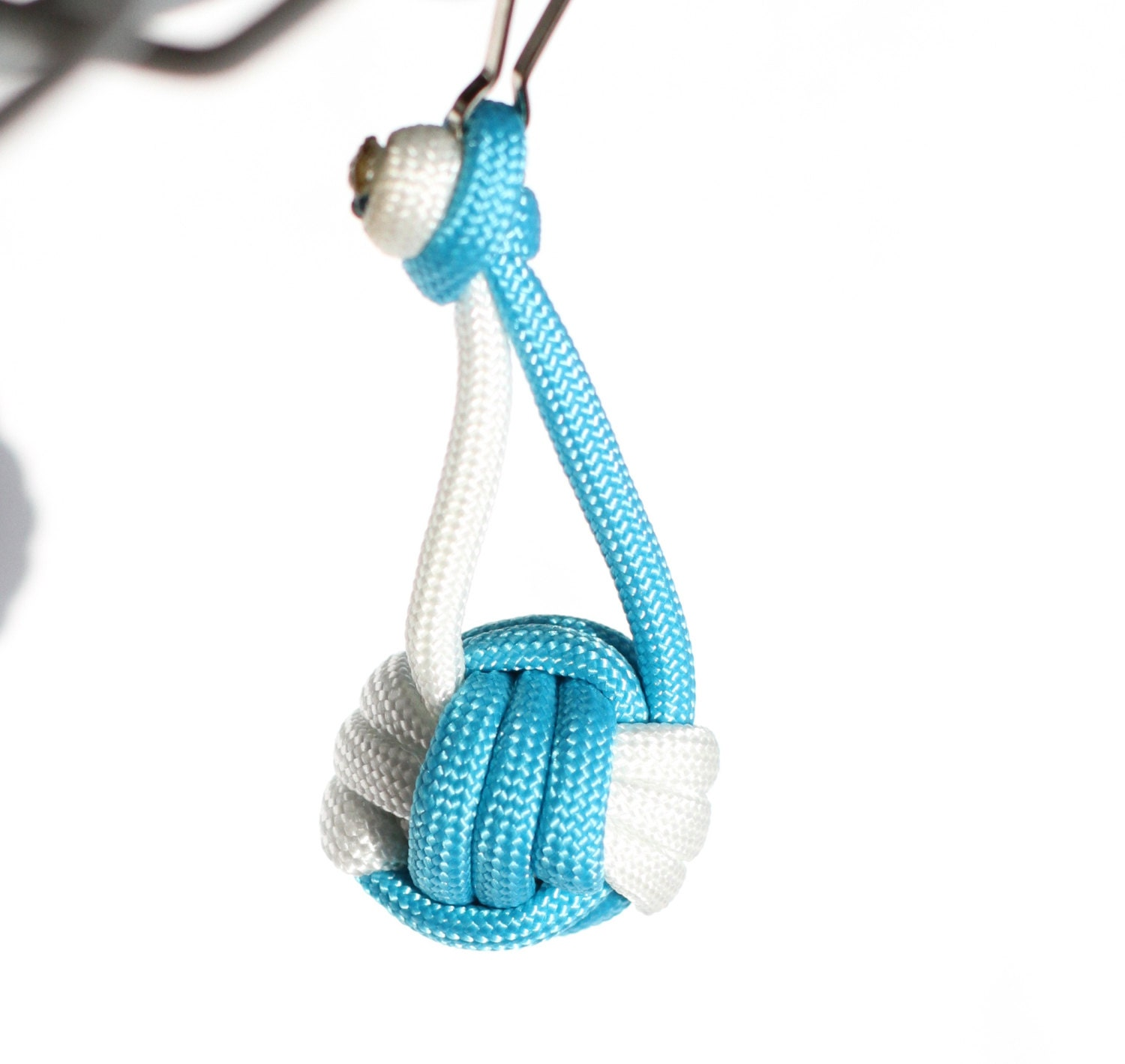 Paracord monkey fist knot volleyball accessories keychain for How to make a keychain out of paracord