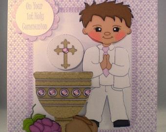 Handmade Decoupage, 3D, Holy Communion Card, Boy, Personalise,