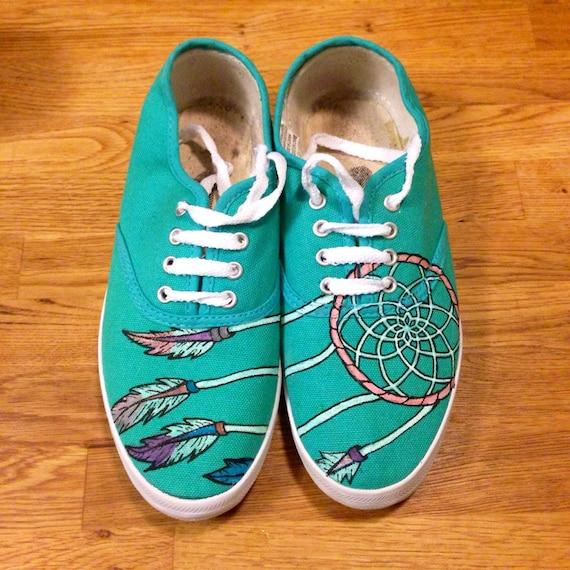 painted dreamcatcher canvas shoes