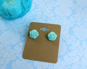 Pastel Blue Rose Post Earrings//Pin Up//Rockabilly//Retro//Floral//Shabby Chic//Cottage Chic//Summer//Spring Jewelry