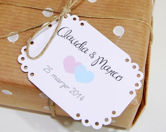 10 wedding favor tags with hearts- custom bridal tags-baby shower