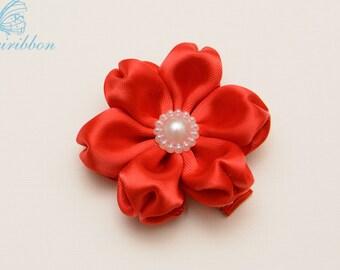 red ribbon flower hair clip - adult hair accessories - toddler hair clip 109