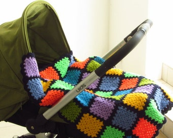Colourful Baby Blanket Granny Squares Baby Blanket Crochet Baby Blanket Baby Afghan Blanket Colourful Crochet Blanket