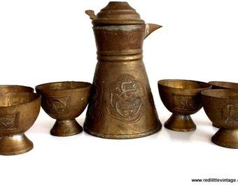 Unique Teapots, Vintage Tea Set, Rustic Kitchen Decor, Rustic Teapots, Vintage Teapot Set, Teapot Decoration, Golden Teapot Brass Teapot Set