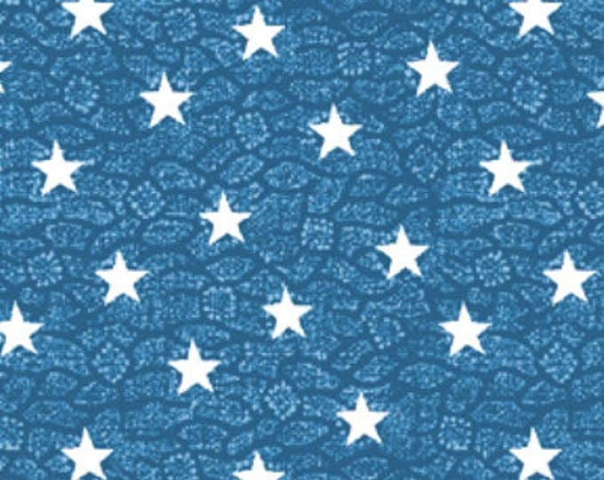 SUPER CLEARANCE!! One Yard By The Sea -  Nautic Star in Blue and White - Nautical - Cotton Quilt Fabric from Benartex Fabrics (W1620)