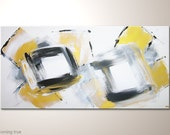 """Modern art canvas painting: """"Coming true"""" abstract wall art 47x24 inches. White gold grey and black colored with acrylics.Streched on frame"""