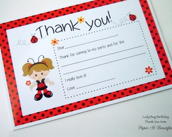 Lady Bug Birthday Thank You Note - Set of 8