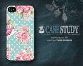 """Available for iPhone 4, 5, 5s, Samsung Galaxy S3 + S4 - """"Rose Blossom"""" - Pink roses over mint green + white polka dots. Valentine's Day!"""